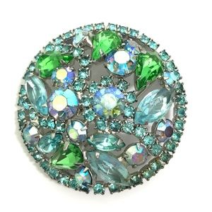 VINTAGE Art Glass & Rhinestone Round Brooch Pin